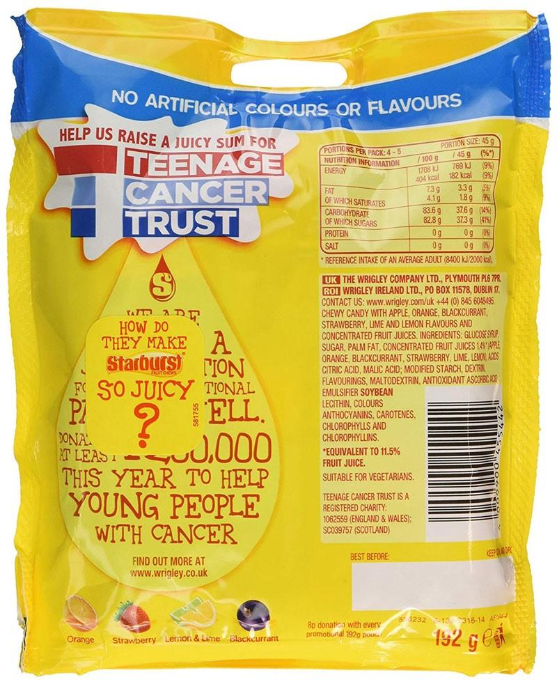 starburst ingredients uk