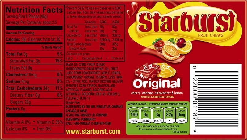 starburst ingredients us